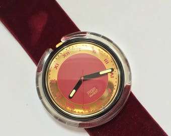 Vintage Pop Swatch Red Velvet PWB160 1991 / Maroon and Gold Swatch
