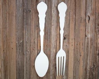 Fork And Spoon Decor Fork Wall Decor Kitchen Decor Kitchen Wall Decor Large Fork And Spoon Large Spoon And Fork Fork And Spoon Art Rustic