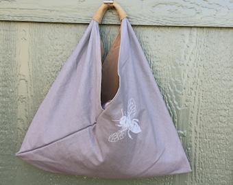 Grey Linen Shoulder Bag for Women, Origami Bag, Printed Bag, Slouchy Purse, Market Bag, Hobo Bag, Bee Design, Vegan Bag, Block Print Fabric