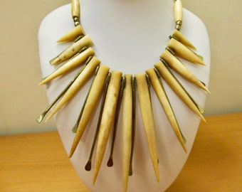 Vintage Handmade Horn and Brass Frontal Necklace Item W # 142