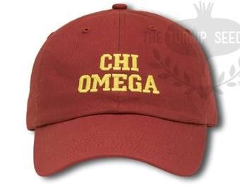Chi Omega Sorority Baseball Cap - Custom Color Hat and Embroidery.