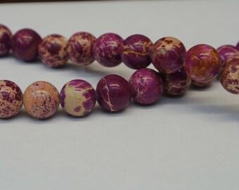 10mm Imperial Fuschia Rounds Beads, Round pink Beads, 1 Strand, Sea Sediment Jasper, Wholesale Beads, Round Beads, Purple Jasper Beads
