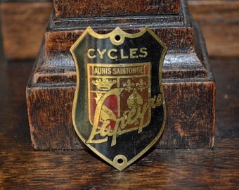Vintage French Bicycle Headbadge Brass Lapeyre Cycles Head Badge Plaque