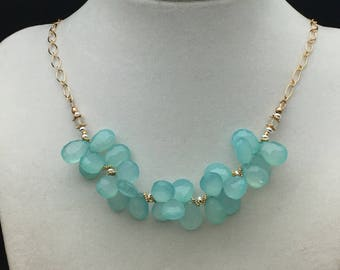 Aqua Chalcedony Cluster Necklace, Ethiopian Opal Necklace, Sterling Silver Necklace, 14k Gold Fill Necklace, Necklaces under 150