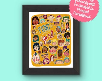 Fight Like A Girl Feminist Illustration Art Print
