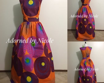 Paint Palette African Waxprint Dress with Pleated Skirt and Pockets
