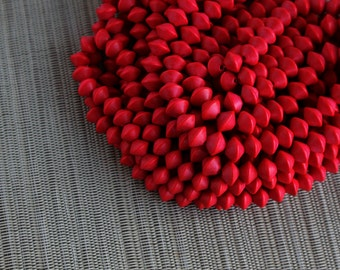 10mm Cayenne Red Saucer Bicone Wood Beads - Dyed and Waxed - 15 inch strand