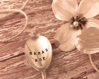 "Baby spoons Stamped, ""Mama's Boy"" baby spoons, upcycled silverware stamped,  stamped sayings on baby spoons, Vintage silverware baby spoon"