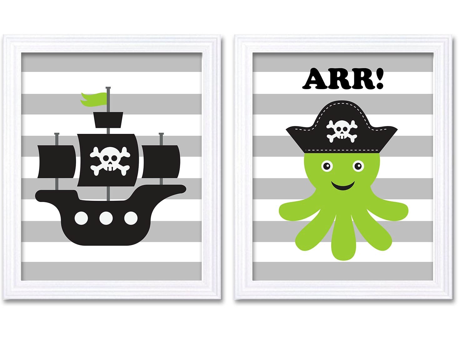 Pirate Nursery Art Set of 2 Prints Nautical Nursery Octopus Ship Lime Green Black White Grey Boy Chi