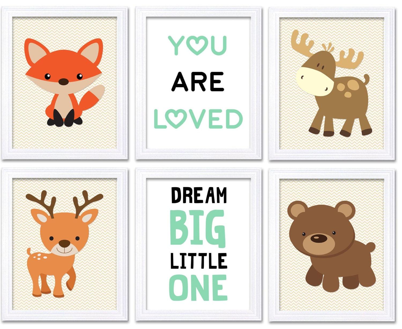 Woodland Animals Woodland Nursery Art Print Set of 6 Fox Moose Deer Bear Dream Big Little One Forest