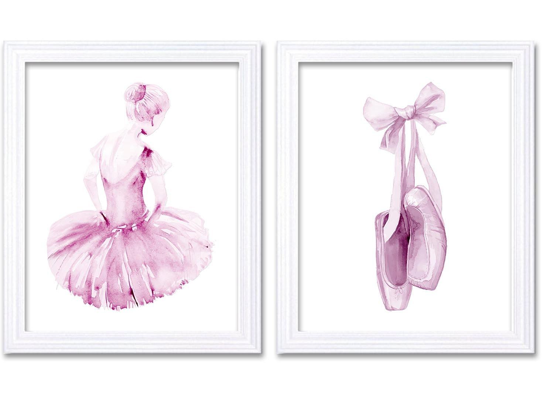 Light Pink White Ballerina Ballet Slippers Set of 2 Prints Girl Watercolor Painting Nursery Art Prin