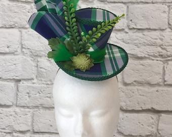 Plaid Tartan Mini Top Hat, Blue & Green Mini Top Hat