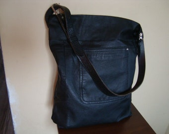 SALE///slouchy leather bag/ black recycled leather