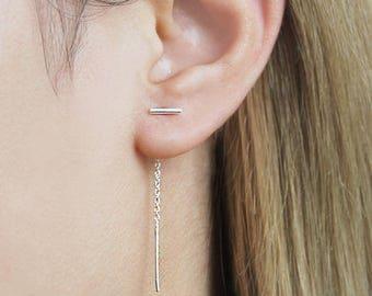 Silver Threader Earrings, Long Threader Earrings, Drop Earring, Sterling Silver Chain, Chain Earrings, Long Drop Earring, 925 Silver Earring