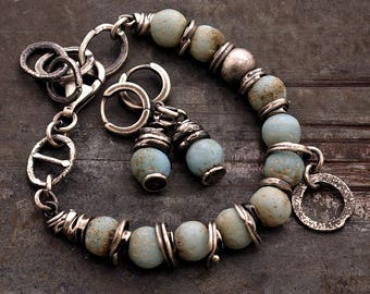 Sale 10 - 20 % OFF • USE CODE ! •  light blue raw silver bracelet • 925 oxidized sterling silver • raw glass • oxidized silver chain