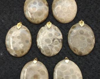 Vintage Petosky Stone 38x30 Oval Pendants