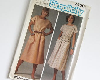 SIZE 10 12 14 6750 Simplicity Women's Dress UNCUT Sewing Pattern Vintage 1980s Eighties Square Neck Dolman Sleeves Elastic Waist