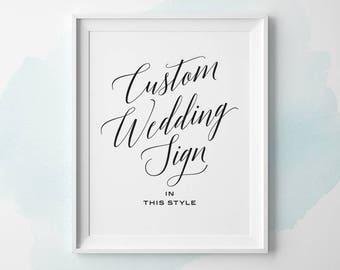 Custom PRINTABLE Wedding Sign, Modern Wedding Signs, Custom Wedding Sign, Black Navy Faux Gold Silver Color Wedding Reception Sign WS2BP