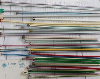 Vintage Lot of 39 Assorted Vintage Single Knitting Needles - Salvaged to Repurpose, Vintage Art Supply
