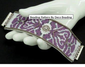 "Peyote Bracelet Beading PATTERN. DIGITAL DOWNLOAD. Odd Count Peyote Pattern. Small Bracelet Pattern. ""Dazzling Medallion"". DecoBeading ."