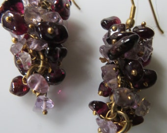 handmade/british/natural pale pinkrose quartz/ruby red garnet/GRAPE/Fruit/ dangle, cluster earrings, 18k gold used throughout, pierced ears