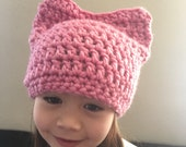 Adult Women's Petal PInk Pussy Hat - Kitty Beanie - cat Hat - women's March