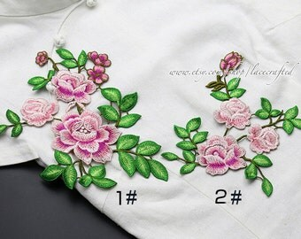 Pink Red Peony Flower Lace Trim Embroidery Appliques Chic Flower Patch Sewing Applique for costume design