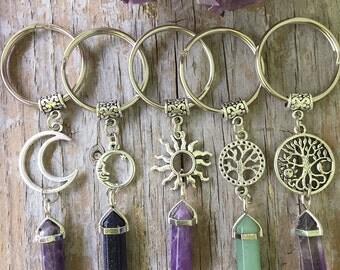 Crystal Celestial Keychain/ Crystal Key Chain Sun Moon Tree/ Crystal Charm Keyring/ Crystal Point Pendant/Custom Crystal and Charm Key Ring
