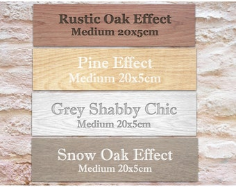 ADD YOUR TEXT to Personalized Custom Made Sign Aluminium Door Plaque: Wood Effect