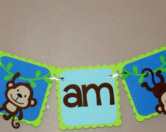 Monkey Highchair Banner/ Monkey Banner/ First Birthday/ Monkey Party Banner/ Jungle/ Safari/ Green/ Blue/Brown/ Cake Smash/1st/I am one/Zoo