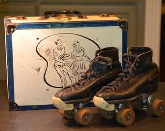 Chicago Boys Black Roller Skates with Original Skate Case