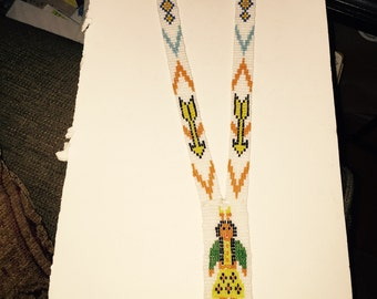 """Vntg NATIVE American Woven SEED Bead Necklace w Arrow 24""""."""