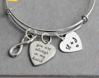 You are always in my heart Bracelet, Anniversary Gift, Personalized Bangle Bracelet, Initial Jewelry, Infinity Bracelet, Gift for Girl Wife