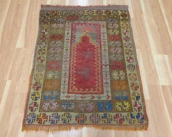 Antique Turkish Rug Red Prayer Oriental Rug 3' 1 x 4'