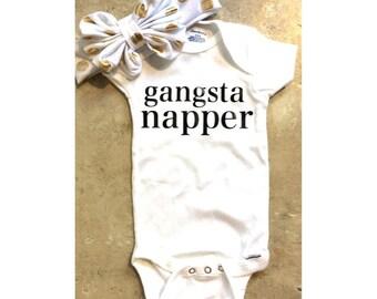 Gangsta napper onesie, baby girl onesie, funny onesie, napping onesie, nap so hard, baby creeper
