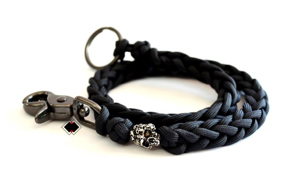 Mind skull paracord wallet key chain lanyard made in usa for How to make a paracord wallet chain