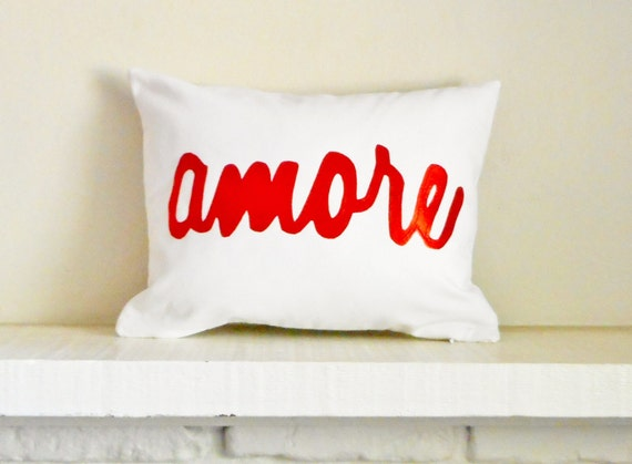 Amore Pillow Cover / Red metallic pillow / pillow with amore / Metallic red pillow / amore Pillow / love / decorative throw cushion