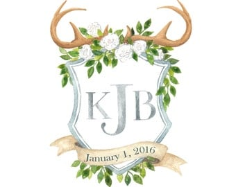 Custom Family Crest - Watercolor Wedding Crest - Monogram Wedding Crest - Watercolor Family Crest -Custom Wedding Crest - Personalized Crest