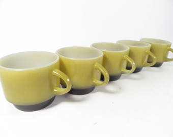 Vintage Set of 5 Fire King Ombre Coffee Cups Mugs - FireKing Green Ombre Stacking Coffee Cups