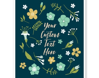 Custom Poster, Floral, Personalized Wall Decor, Home Decor, Floral Art, Custom Christmas Gift for Mom, Sister, Aunt