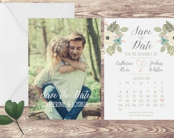 Floral Save the Date Card, Photograph Save the Date, Save the Date with Photograph, Spring Save the Date, Calendar Save the Date