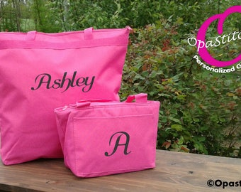 Tote and Lunch bag Personalized combo, Pink,lunch box insulated,monogrammed,zipper closure teacher gift idea kids back to school