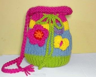 Girls Crochet Butterfly Purse, Butterfly Handbag, Butterfly Pocketbook, kid purse