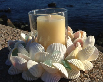 Beach Decor - White Shell Wreath With Candle (CW035)