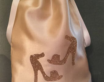 Travel Shoe Bag, Satin Shoe Bag, Bridesmaid Gift, Bridal Shower Gift
