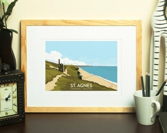 St. Agnes, Cornwall, England, UK - signed travel poster print
