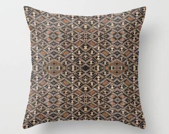 African Art Throw Pillow - Featuring Exclusive Kuba Cloth Design - Variation #2 / Spun Polyester