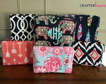 Large Monogrammed Cosmetic Case - several preppy patterns including pineapples, elephants, ikat and more!