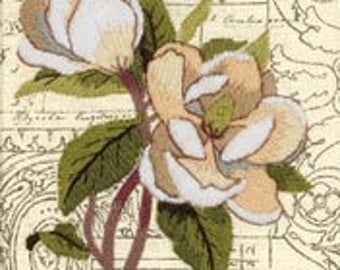 White Magnolias crewel embroidery kit