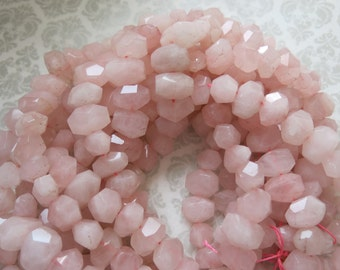 Faceted Rose Quartz, Full, Half, Quarter Strands, Gorgeous Pink, Faceted, Side Drilled, Chunky, Nugget Beads